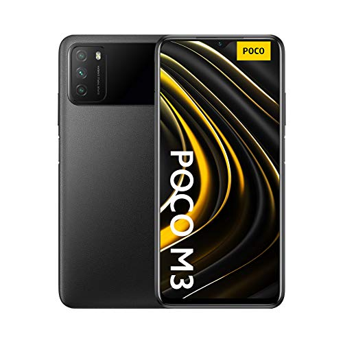 "Poco M3 - Smartphone 4+128GB, Pantalla 6,53"" FHD+ con Dot Drop, Snapdragon 662, Cámara triple de 48 MP con IA, batería de 6000 mAh, Power Black"