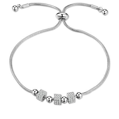 Silver Best Friend Bracelet for Women - Adjustable Bracelets with Dice Diamond Fashion Jewelry Birthday Gifts for Women Girls(01-Silver)
