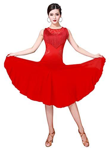 ZX Robes de danse latine pour femme à franges en dentelle dans le dos avec short (5 couleurs) - rouge - Taille M
