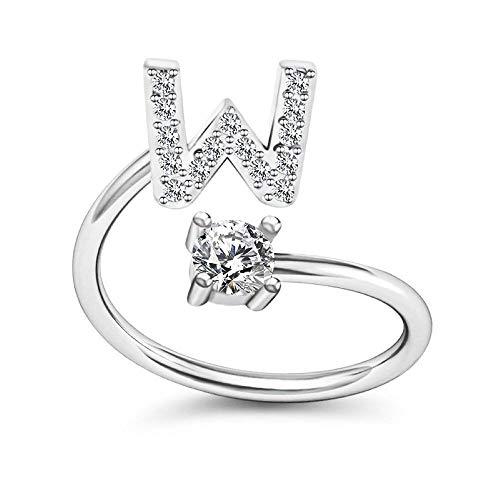 Bungsa® W Ring Buchstabe - Buchstaben Ring Silber mit Kristallen - biegbarer Fingerring/Zehenring Toering für Damen, Kinder & Herren