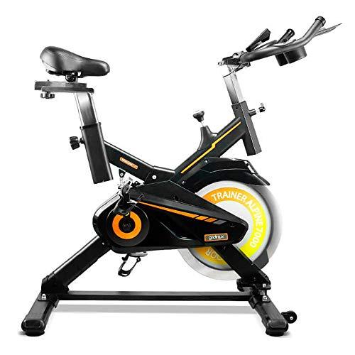 gridinlux. Trainer Alpine 7000. Bicicleta estática Spinning. Volante de Inercia 15 kg, Nivel Avanzado, Sistema de Absorción de Impactos, Pantalla LCD, Fitness