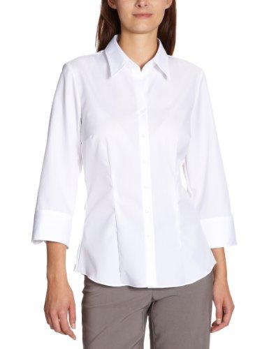 Zijdesticker dames blouse - strijkvrije, licht getailleerde hemdblouse met hemdblouskraag voor optimaal draagcomfort - 3/4 mouw - 100% katoen