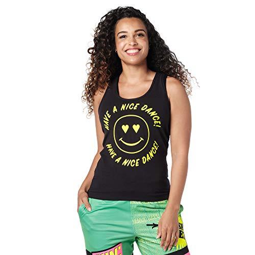 Zumba Atlético Estampado Fitness Camiseta Negra Mujer Racerback de Entrenamiento Top Deportivo Tank Tops, Poppin' Black, X-Small Womens