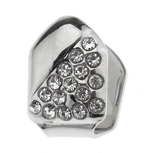 YINETTECH Single Cap Tanden Grill Zilver Diamante Half Iced-Out Slug Bling Tooth Cap