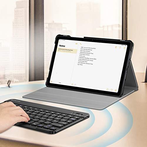 Fintie Tastatur Hülle für Samsung Galaxy Tab A7 10.4'' 2020 (SM-T500/T505/T507), Ultradünn leicht Schutzhülle mit magnetisch Abnehmbarer drahtloser Deutscher QWERTZ Bluetooth Tastatur, Schwarz