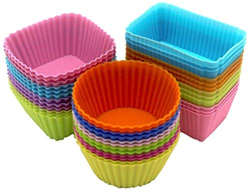 Silicone Baking Cups 36 Pack - Dtzzou Reusable Muffin Cups Liners Molds Sets Round Square & Rectangle Shaped