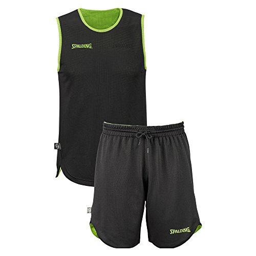 SPALDING - DOUBLE FACE KIT REVERSIBLE JUNIOR - Kit Maillot et Short de Basket Junior - Kit reversible Junior - Confort maximal - vert flash/noir - - FR: 176 (Taille Fabricant: M)