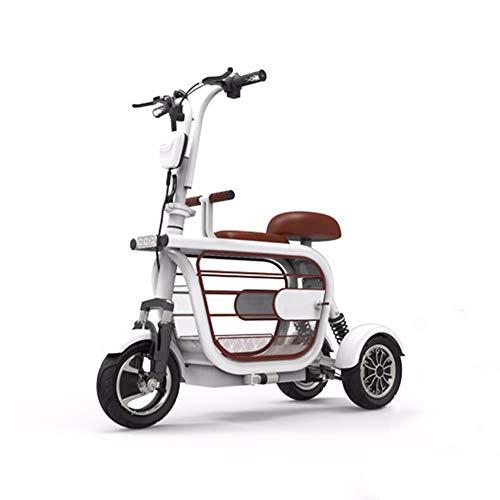Embid Scooter Elettrico, Bicicletta elettrica Pieghevole per Adulti a Tre Ruote Tram Litio Tram 48v Triciclo Telecomando 400w a Lungo Raggio IP56 Impermeabile White-15Ah