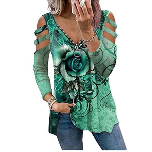 BEAUTYOO Camiseta casual de manga larga larga con estampado de rosa con cremallera en V, talla grande, sexy, hombros descubiertos, blusa de túnica con tiras, verde, XL