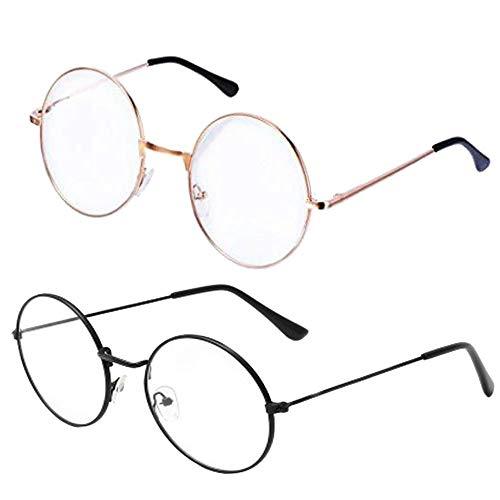 Retro Metall Frame Runde Brille, 2 Stück Klassischer Unisex Transparente Gläser, Auge Brillen Frame mit Gewöhnliche Brillengläser (Silber + Pistole Farbe)
