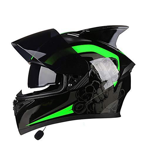 L.L.QYL Motorradhelm Motorrad Bluetooth Headset Integralhelm Bunte Linse Doppellinse Mode Atmungsaktive Ecke Reithelm Motocross-Helm (Farbe : Have Corner, Size : M)