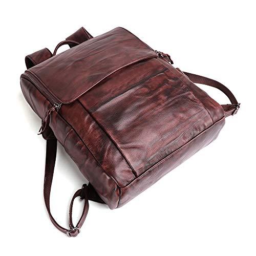 zZZ Outdoor Leisure Shoulder Bag Retro Handmade Leather Men's Bag Multi-function Backpack Computer Bag Large Capacity (Color : Brown)