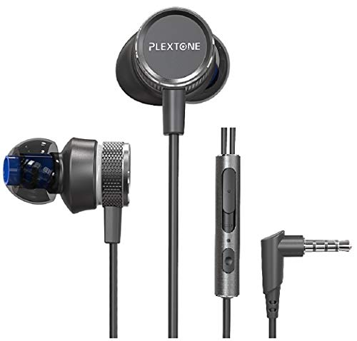 Plextone Metal Gaming Earbuds with Mic,HD Enhanced Bass for PC,Nintendo Switch, Xbox One, PS4, PC, Laptop (3.5mm Jack and Audio Splitter Cord Included) -Black
