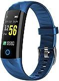 JIAJBG Pulsera inteligente de seguimiento de actividad cardíaca, presión arterial y sueño, recordatorio de información IP68, resistente al agua, podómetro, pulsera de deportes de salud, color azul