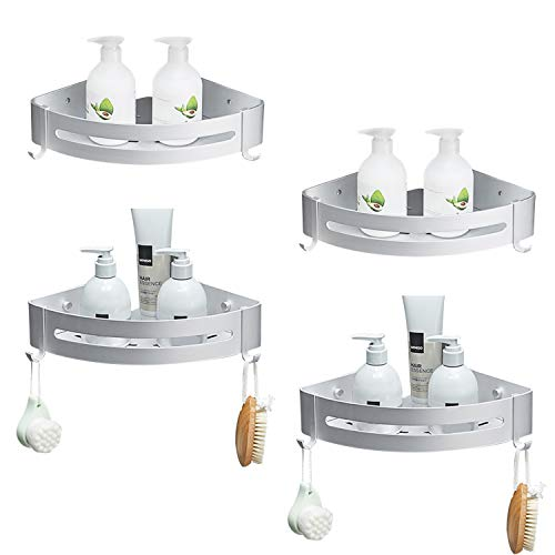 SEVENS No Drilling 4 Tiers Bathroom Shower Corner Shelf Adhesive Corner Caddy for Shower Kitchen Organizer Storage Durable Space Aluminum with 8 Removable Hooks