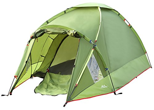 MoKo Waterproof Family Camping Tent, Portable 3 Person Outdoor Instant Cabin Tent, 4-Season Double Layer Dome Tent Sun Shelter for Hiking, Backpacking, Trekking, Mountaineering, Beach - Light Green