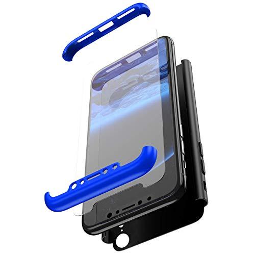 Coque iPhone XR Intégral 360 Degrés Full Body Coque + Verre trempé Film de Protection,PC Rigide Coque Hybride Robuste Coque 3 in 1 Exact Fit Avant et Arrière Etui pour iPhone XR,Bleu,Noir