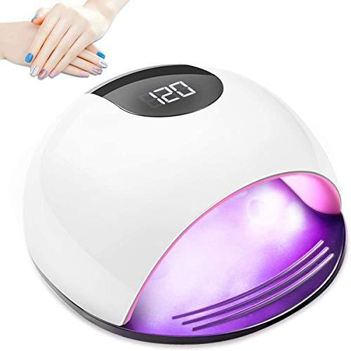 Lámpara De Uñas UV LED, Secador De Esmalte De Uñas Profesional 72W, Lámpara De Fotocurado, Secador De Uñas con Sensor Automático Inteligente, con 4 Configuraciones De Temporizador