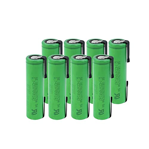 RitzyRose Batería De Litio De 3.6v 2600mah 18650 VTC5A 35a, Recargable con Hoja De níQuel De Soldadura para Linterna 8PCS