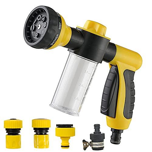 Garden Hose Spray Nozzle – Water Foam Gun with Reservoir for...