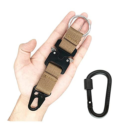 Onepin Tactical Key Chains for Mens, Carabiner Clip, Military Nylon Web Rigger Work Carry Tool with Heavy-Duty Quick-Release Metal Buckle and Olecranon Hook, Khaki, 7.09
