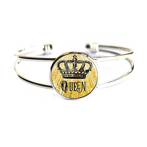 Moda reina corona imagen pulsera brazalete plata steampunk cadena brazalete estilo cristal cabujón joyería,PU320