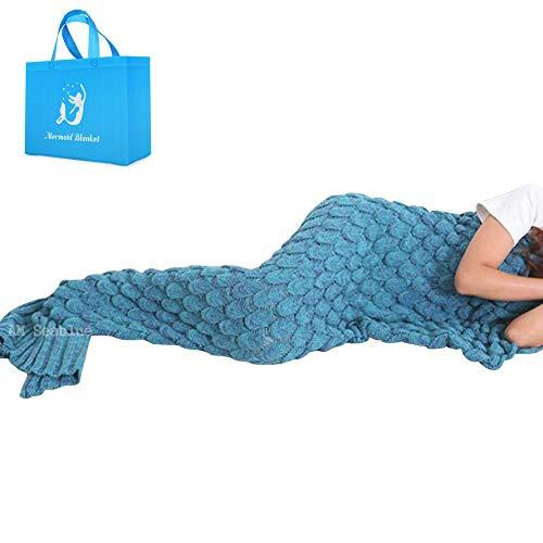 Meerjungfrau Decke, Handgemachte häkeln meerjungfrau flosse decke für Erwachsene, Mermaid Blanket alle Jahreszeiten Schlafsack Bestes Geschenk für sie (Blau)