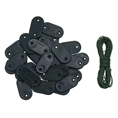WerkaPro 10680 - Kit de 30 piezas de fijación para valla de vista/cañizo – Color verde – Incluye 4 metros de alambre plastificado
