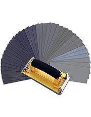 MOHOO Vått torrt sandpapper, 120 till 3 000 blandade sandpapper med handslipmaskin för trämöbler, metallslipning och bilpolering, 25 x 3,6 tum, 36 ark