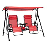 Oversized Zero-Gravity Swing Chair 2 Person Steel Outdoor Reclining Red Canopy Luxury Patio Porch Person Bench Roof Lawn Garden Furniture Hanging Lounge Desk Couple Family Home Capacity 350 Pound Each