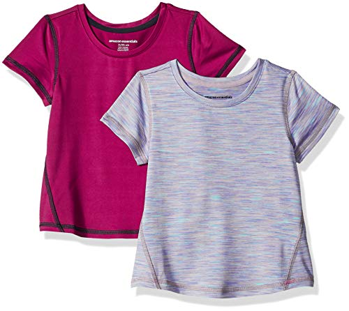 Amazon Essentials Girls' 2-Pack Short-Sleeve Active T-Shirt, Fuchsia/Purple Spacedye, 4T