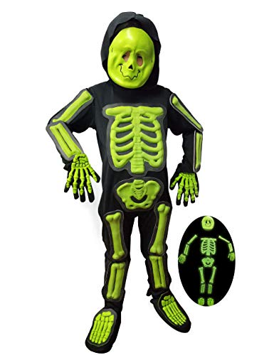 IKALI Kinder Halloween Skelett Kostüm,3D Glühen im Dunkeln Bone Jumpsuit 7PCS