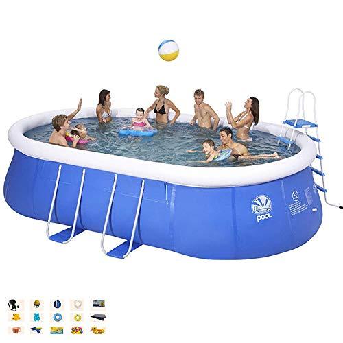 DNNAL Aufblasbarer Swimmingpool, Kinder Erwachsene außen Planschbecken Große Oval Privater Pool, Bracket Eindickung Sommer Umweltschutz Pool (366 * 195 * 90 cm)