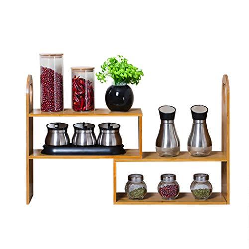 LIXMZZWJ Multifunktions-Holzregal , Desktop-Pflanzenablage Verstellbarer Schreibtisch-Bücherregal für Home Organizer-Anzeige 3-Fach-Regalaufsatz-Bücherregal Natural