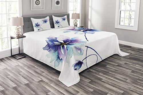 Ambesonne Watercolor Flower Bedspread, Flower Drawing with Soft Spring Colors Retro Style Floral Artwork, Decorative Quilted 3 Piece Coverlet Set with 2 Pillow Shams, Queen Size, White Purple