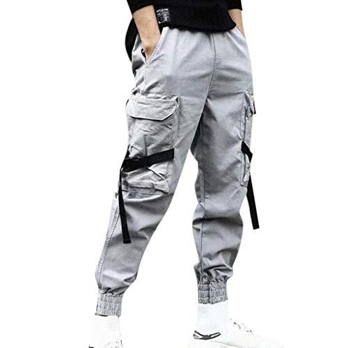 AmyGline Herren Hose Mode Cargo Hose Muti Taschen Bandage CasualSporthosen Harem Hose Männer Freizeithose Chino Hose Sweatpants