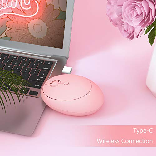 Jelly Comb Kabellose Maus, Dual-Modi 2.4GHz USB A + USB C Funkmaus, einstellbar DPI 1000-1600-2400 Wireless Maus für PC, Laptop, Tablet, Handy(Rosa)