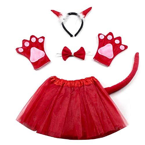 Lovelegis Disfraz de Demonio Demonio Diablo - para niña - tutú - Diadema - Guantes - Corbata de Lazo - Cola - Disfraz Carnaval Halloween Cosplay - Color Rojo