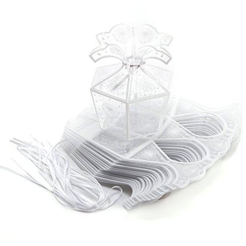 Surepromise 20xHochzeit Geburt Party Gastgeschenk Transparent Geschenkbox Geschenkverpackung Kartonage Bonboniere Box Geschenkschachtel Süßigkeiten Aufbewahrungsbox Tischdeko