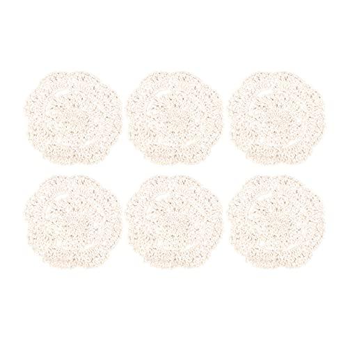 Luxshiny - Sottobicchieri in pizzo all'uncinetto, 6 pezzi, rotondi, fatti a mano, vintage, alla moda, per bevande, piccoli