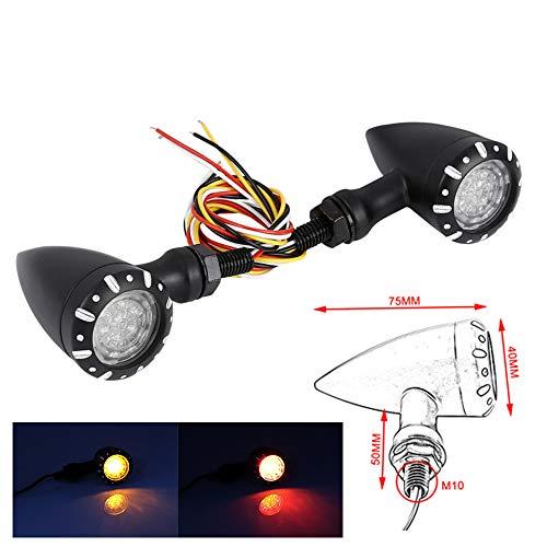 Motocicleta señales de giro 2 unids lámpara LED negro luces intermitente luz indicadora para Harley Cruiser Chopper Custom Bike Bobber