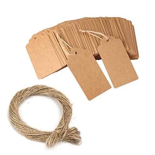 Keweni 100 etiquetas de papel kraft, 3 etiquetas de 5 cm para manualidades con cordel de yute natural de 20 metros, etiquetas de exhibición para regalos, etiquetas de boda, día de San Valentín