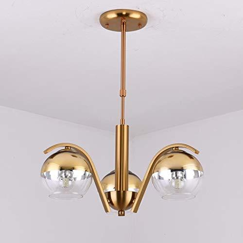 XUSHEN-HU vintage Lámpara de vidrio Lustre cromo de la lámpara de iluminación moderno de la sala de cocina cubierta decoración Las luminarias de cobre del diseño del metal E27 LED