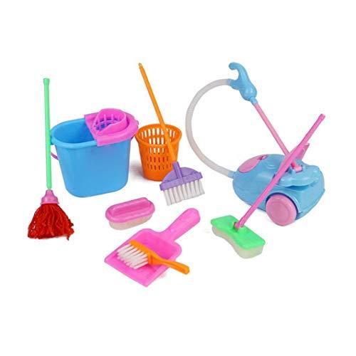 ZYCX123 Los Juegos de simulación del hogar Toy Kit Mini Aspirador de Limpieza Escoba de la fregona Herramientas Accesorios Juguetes Ware Juguetes para niñas niños 9pcs Recuerdos