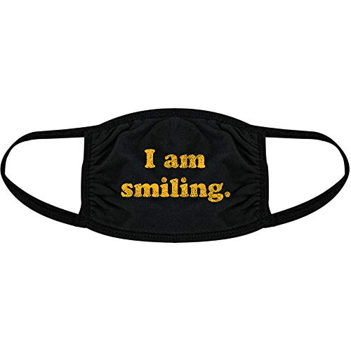 I Am Smiling Face Mask Funny Happy Face Novelty Graphic Nose and Mouth Covering (Black) - 1 Pack