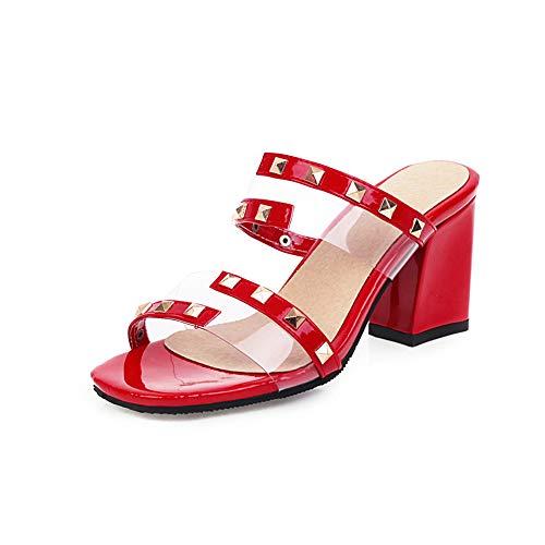 DDDXXX Damen Sandalen Rockstud Schuhe Chunky Heel Öffnen Zehe-Niet PU-Minimalism Frühling Und Sommer, Rote Partei Und Abend,Rot,35