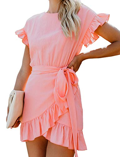 Relipop Women's Dress Solid Fishtail Short Sleeve Wrap Ruffle Hem Mini Short Dresses Pink