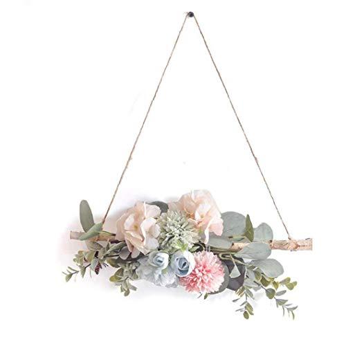 Sanfiyya Colgar de la Pared de la Flor Artificial del Peony de Arte Garland Decoración de la Guirnalda de la Puerta con el palillo de Madera para la Fiesta de la Boda Style2
