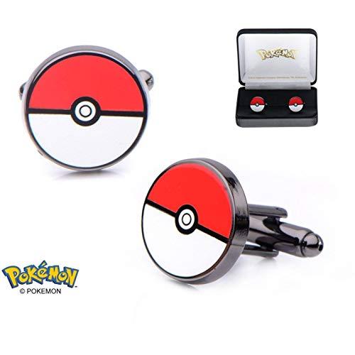 Offiziellen Pokemon Pokeball aus rostfreiem Stahl schwarz PVD beschichtet Manschettenknöpfe - Boxed