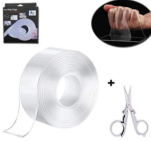 5M Nano Cinta Adhesiva Lavable de Doble Cara y Tijeras plegables,Reutilizable Nano Tape,Multifuncional Transparente Traceless Doble Cara Grip Tape para Pared Cocina,Alfombra,Fijación de Fotos
